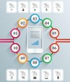 ícones infographic do molde e do mercado do projeto 3D Smartphone Imagens de Stock