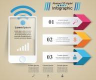 ícones infographic do molde e do mercado do projeto 3D Smartphone Fotografia de Stock Royalty Free