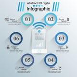 ícones infographic do molde e do mercado do projeto 3D Smartphone Foto de Stock