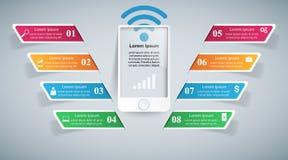 ícones infographic do molde e do mercado do projeto 3D Smartphone mim Imagens de Stock Royalty Free