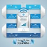ícones infographic do molde e do mercado do projeto 3D Smartphone mim Fotografia de Stock