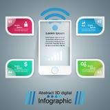 ícones infographic do molde e do mercado do projeto 3D Smartphone mim Fotos de Stock