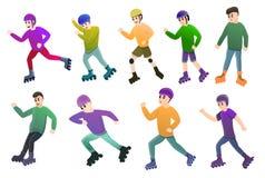 Ícones Inline grupo dos patins, estilo dos desenhos animados ilustração stock