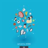 Ícones integrados esporte da Web 3d Conceito isométrico da rede de Digitas Fotografia de Stock Royalty Free