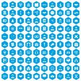 100 ícones inteligentes ajustados azuis ilustração stock