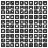 100 ícones inteligentes ajustados pretos ilustração do vetor