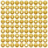 100 ícones inteligentes ajustaram o ouro ilustração do vetor
