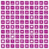 100 ícones inteligentes ajustaram o rosa do grunge ilustração stock