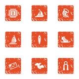 Ícones interativos ajustados, estilo da moeda do grunge ilustração royalty free