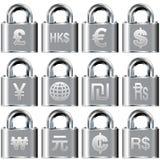 Ícones internacionais da moeda em teclas de fechamento Foto de Stock Royalty Free