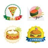 Ícones internacionais do alimento de gourmet Fotografia de Stock Royalty Free