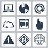 Ícones Internet-relacionados do vetor ajustados Foto de Stock