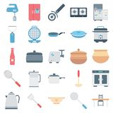 Ícones isolados cor do vetor do equipamento da cozinha ilustração royalty free