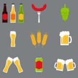Ícones isolados da cerveja ajustados Coleção dos ícones da cerveja Foto de Stock Royalty Free