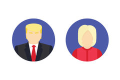 Ícones isolados do candidato presidencial, conceito da eleição Ilustração lisa do vetor Imagem de Stock Royalty Free