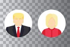 Ícones isolados do candidato presidencial, conceito da eleição Ilustração lisa do vetor Fotografia de Stock Royalty Free