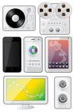 Ícones isolados dos dispositivos Fotografia de Stock Royalty Free