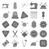 Ícones isolados material do vetor da costura muito úteis para costurar, costurar e costurar ilustração do vetor