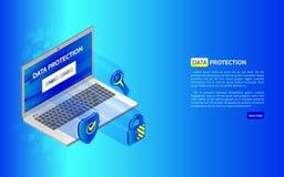 Ícones isométricos abstratos do portátil e da proteção, protetor, cadeado Foto de Stock