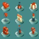 Ícones isométricos da cor do dia das mulheres Imagem de Stock Royalty Free