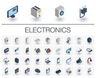 Ícones isométricos da eletrônica e dos multimédios vetor 3d ilustração do vetor