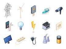 Ícones isométricos da eletricidade ajustados ilustração stock