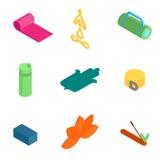 Ícones isométricos da ioga Imagens de Stock