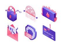 Ícones isométricos da segurança do Cyber isolados no fundo branco Ajuste das ilustrações de dados seguros, proteção do e-mail, se ilustração royalty free