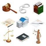 Ícones isométricos de símbolos públicos isolados de justiça Lawbook, algema, martelo do juiz, escalas, papel, Themis Vetor ilustração do vetor