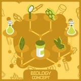 Ícones isométricos do conceito da cor da biologia Imagens de Stock