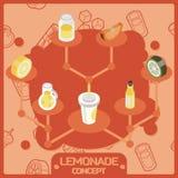 Ícones isométricos do conceito da cor da limonada Imagens de Stock