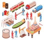 Ícones isométricos do gás de óleo ilustração royalty free