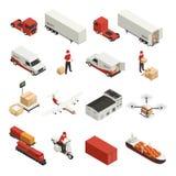 Ícones isométricos do transporte da carga ilustração stock