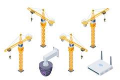 Ícones isométricos do vetor das ferramentas do canteiro de obras ajustados ilustração do vetor