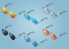 Ícones isométricos dos óculos de sol do vetor Para o infographics ou o projeto isométrico Fotografia de Stock