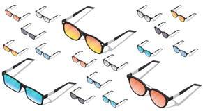 Ícones isométricos dos óculos de sol do vetor Para o infographics ou o projeto isométrico Fotos de Stock Royalty Free