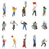 Ícones isométricos dos povos da demonstração do protesto ajustados ilustração do vetor