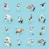 Ícones isométricos dos robôs criativos ilustração do vetor