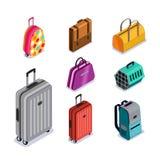 Ícones isométricos isolados bagagem do estilo 3d do vetor Bagagem multicolorido, mala de viagem, sacos, trouxa, animais levando ilustração do vetor