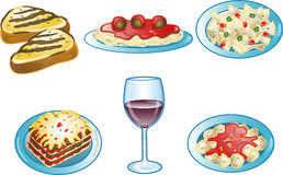 Ícones italianos do alimento Imagens de Stock Royalty Free