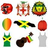 Ícones jamaicanos ilustração stock