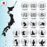 Ícones japoneses Fotografia de Stock Royalty Free