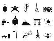 Ícones japoneses pretos ajustados Fotografia de Stock Royalty Free
