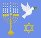 Ícones judaicos do Hanukkah do feriado ajustados Ilustração do vetor ilustração stock