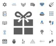 Ícones judaicos do Hanukkah do feriado ajustados Ilustração do vetor Foto de Stock Royalty Free