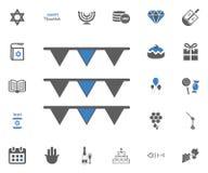 Ícones judaicos do Hanukkah do feriado ajustados Ilustração do vetor Fotos de Stock Royalty Free
