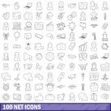 100 ícones líquidos ajustados, estilo do esboço Imagem de Stock