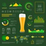 Ícones lineares da cerveja do infographics da Web ajustados Fotografia de Stock Royalty Free
