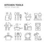 Ícones lineares da cozinha Foto de Stock Royalty Free