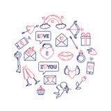 Ícones lineares do dia de Valentim colocados na forma de um círculo ilustração stock